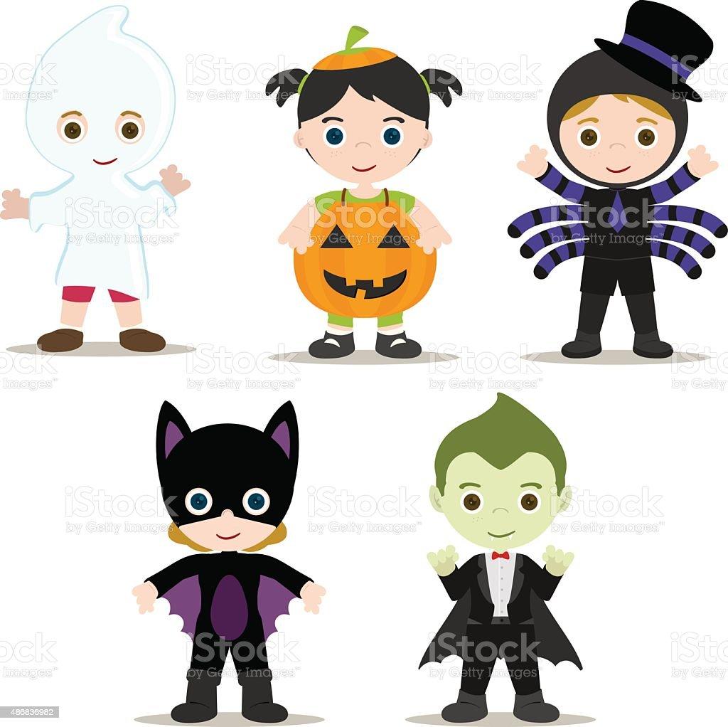 Halloween Kids vector art illustration