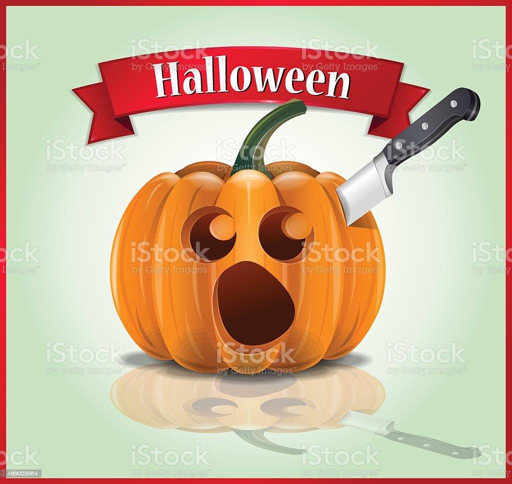 Halloween - Killing and Carving of Pumpkin vector art illustration