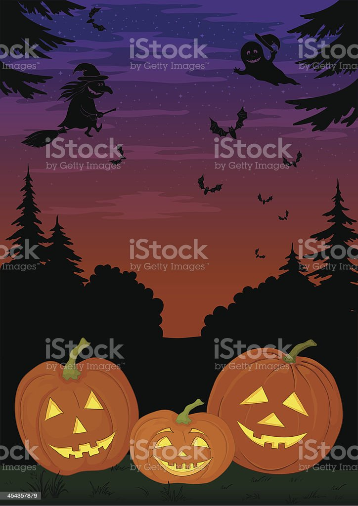 Halloween landscape with pumpkins royalty-free stock vector art