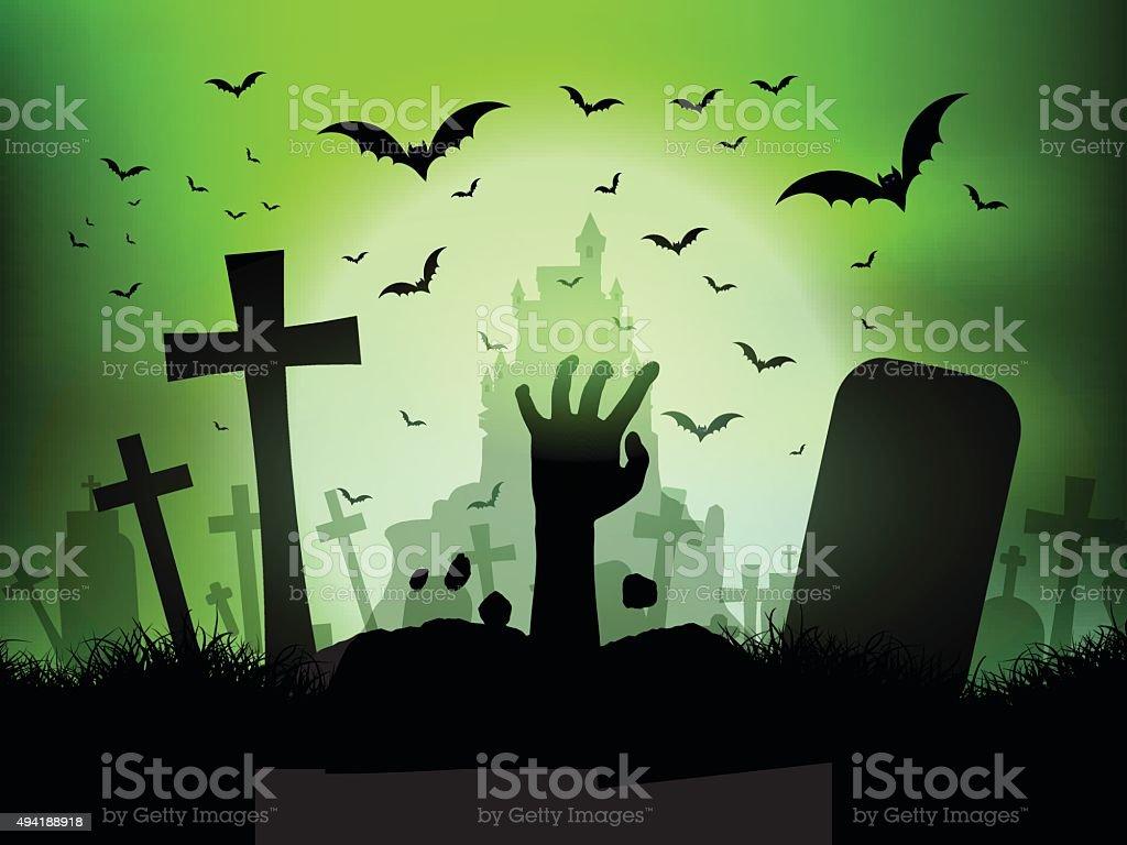 Halloween landscape with zombie hand in graveyard vector art illustration