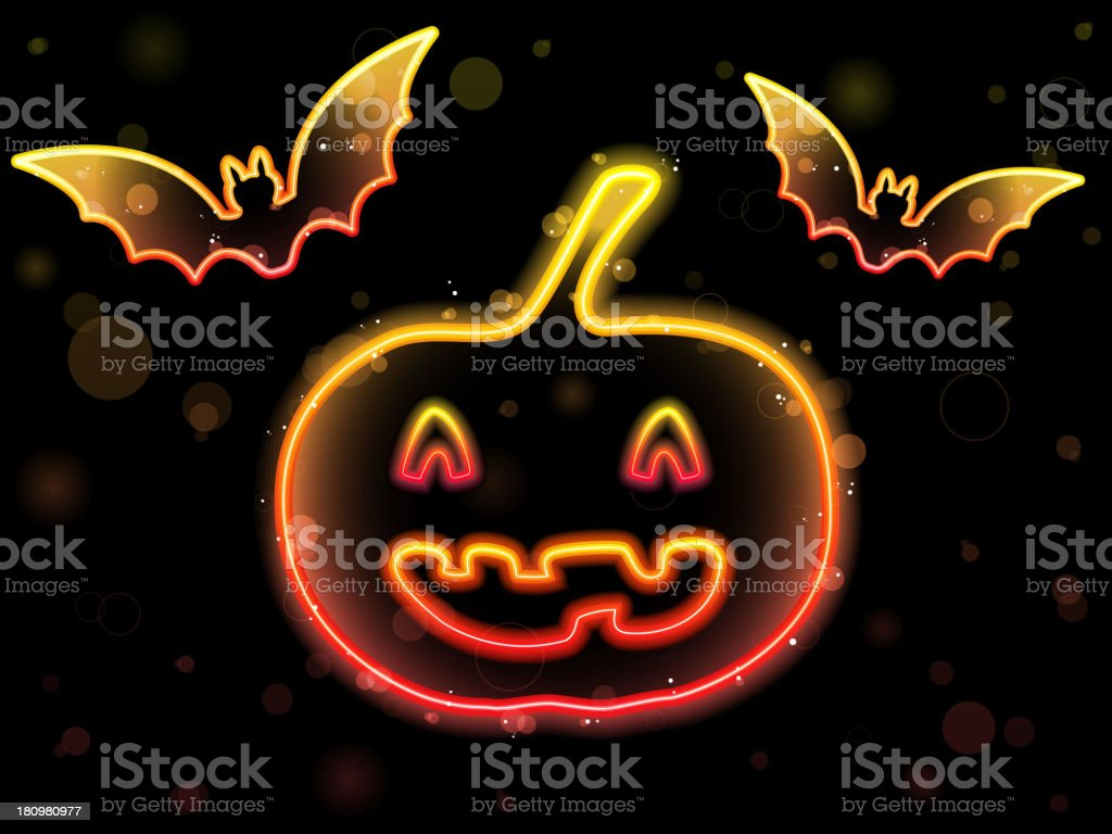 Halloween Lights Frame with Bats and Pumpkin royalty-free stock vector art