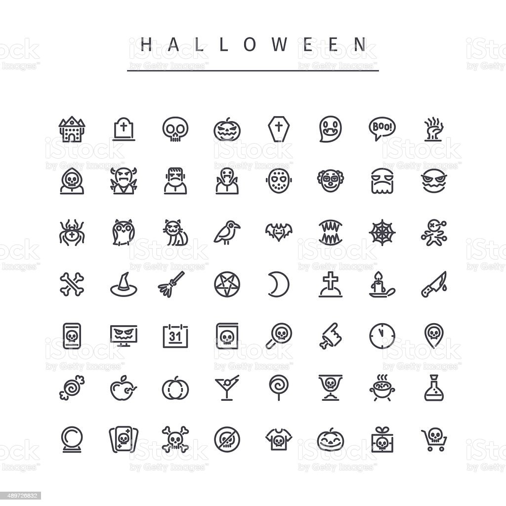 Halloween Line Icons Set vector art illustration