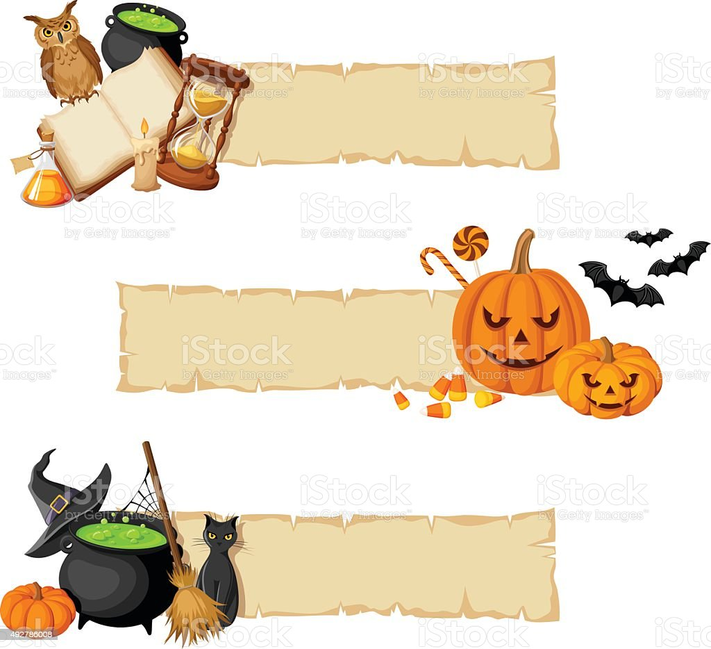 Halloween magic web banners. Vector eps-10. vector art illustration