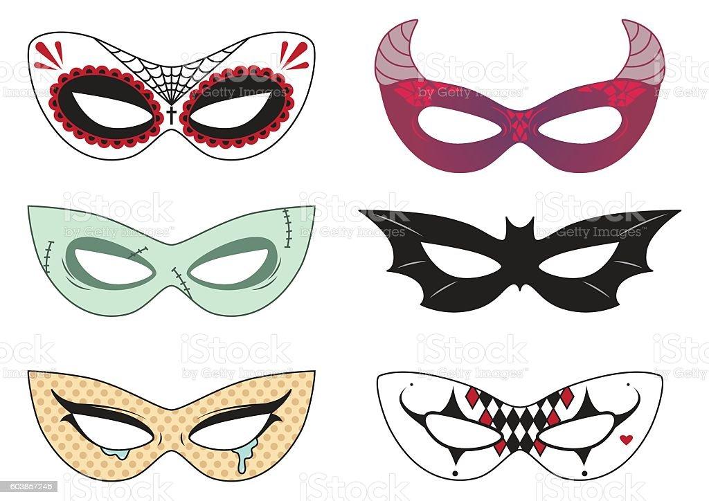 Halloween masks vector art illustration