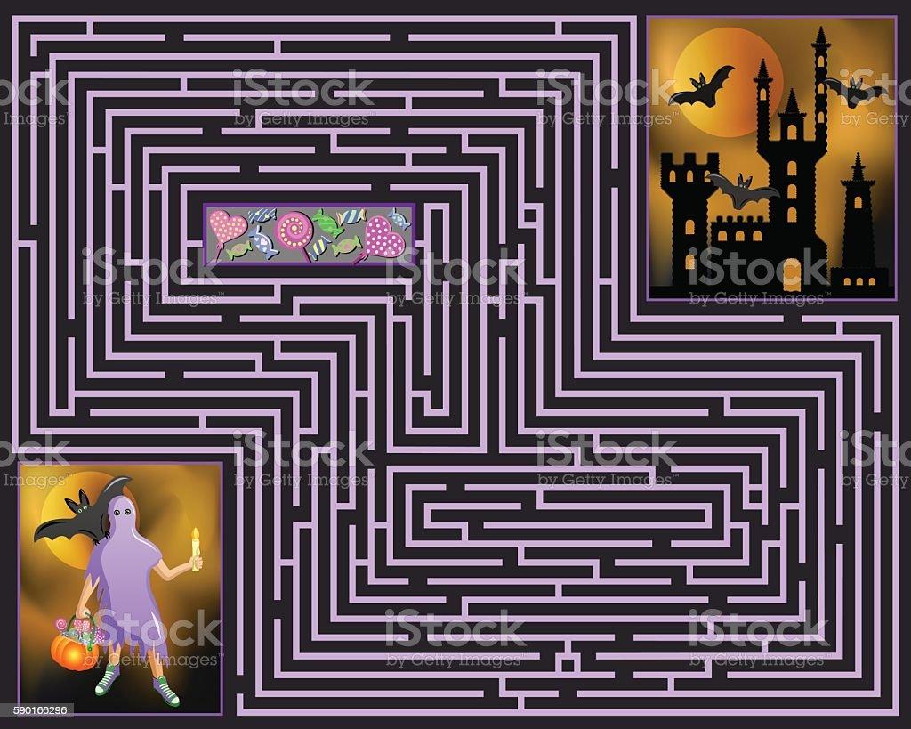 halloween maze vector art illustration