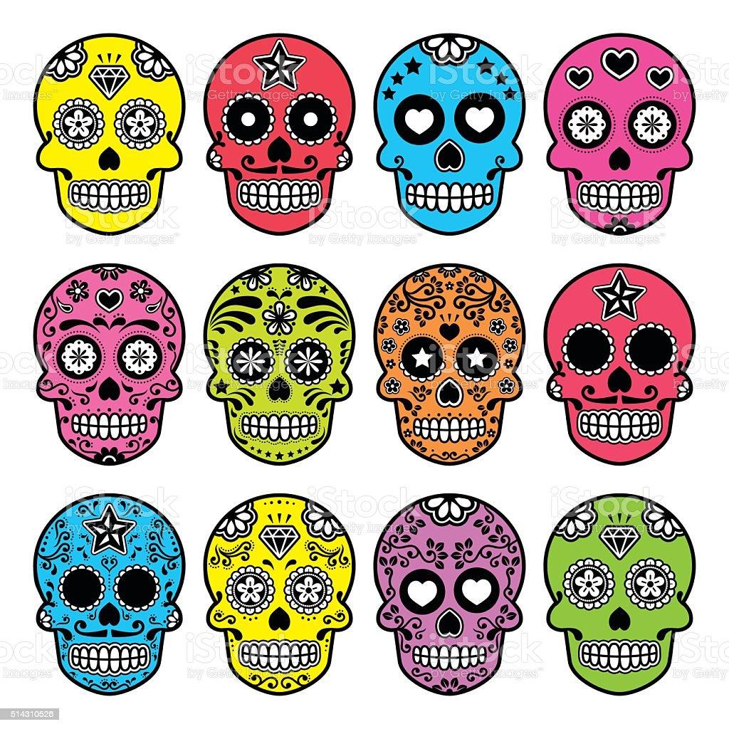 Halloween Mexican sugar skull, Dia de los Muertos icons set vector art illustration