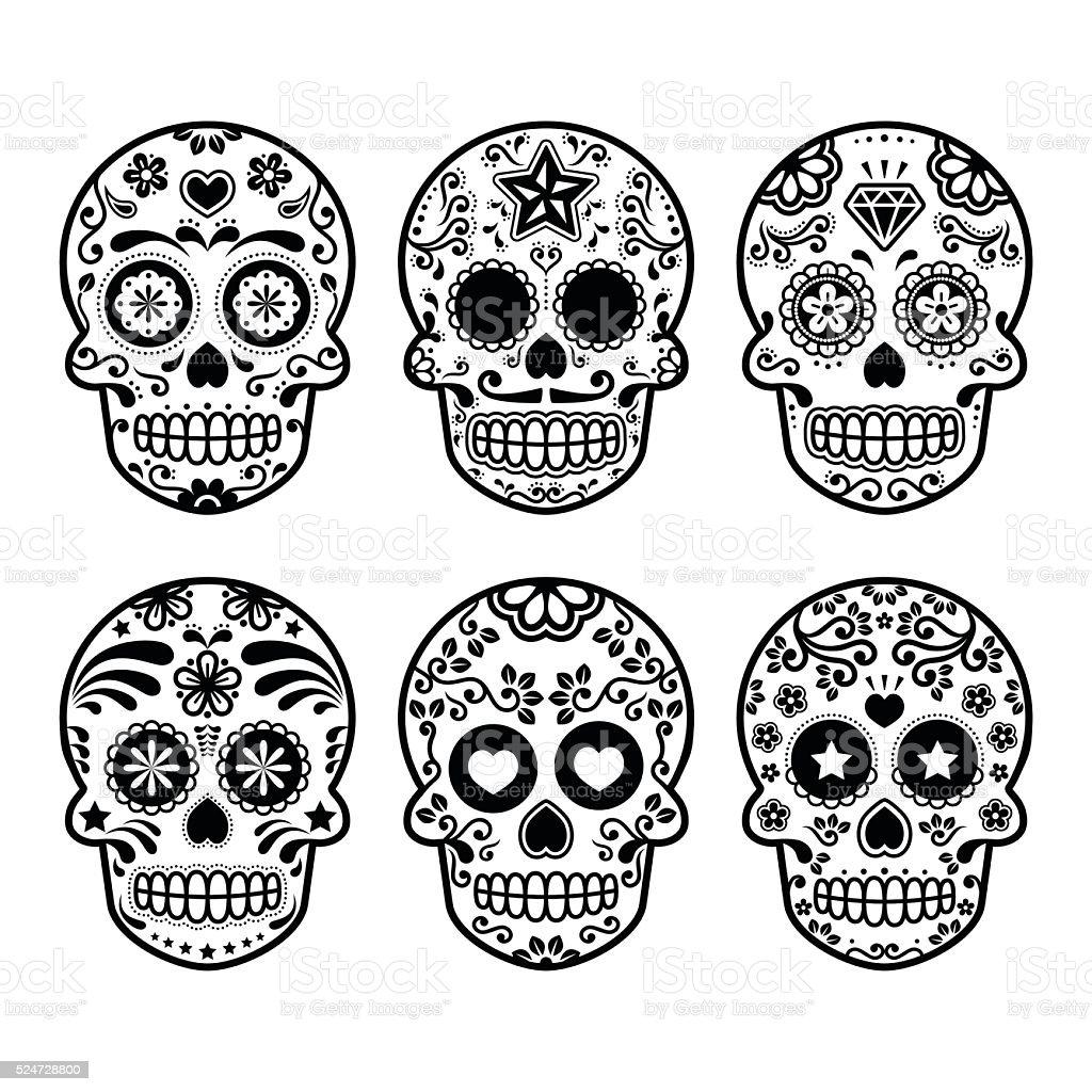Halloween, Mexican sugar skull icons vector art illustration