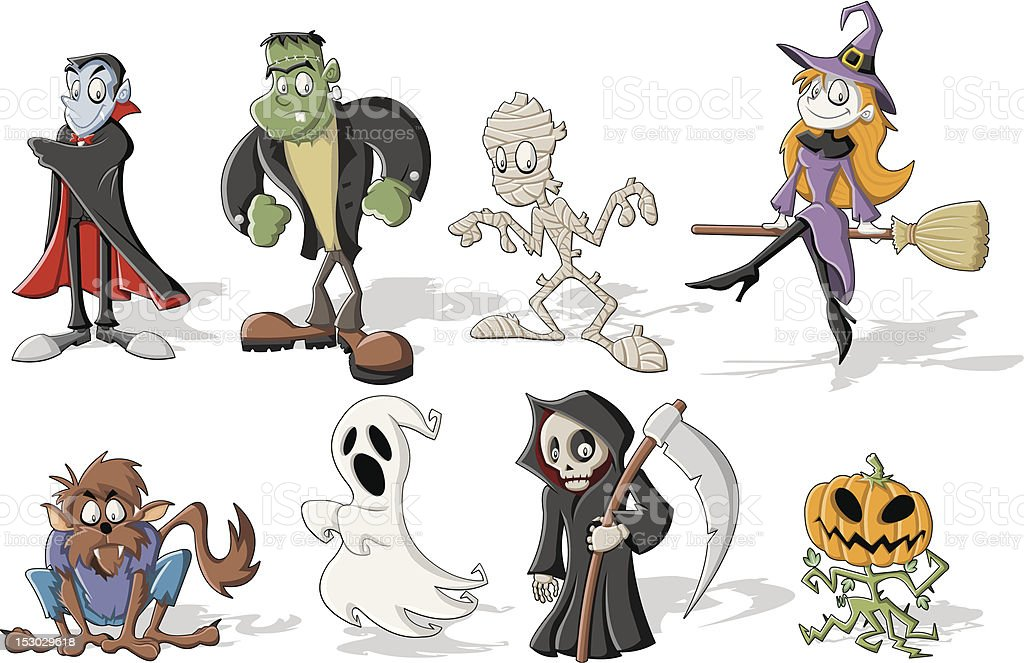 Halloween monster characters royalty-free stock vector art