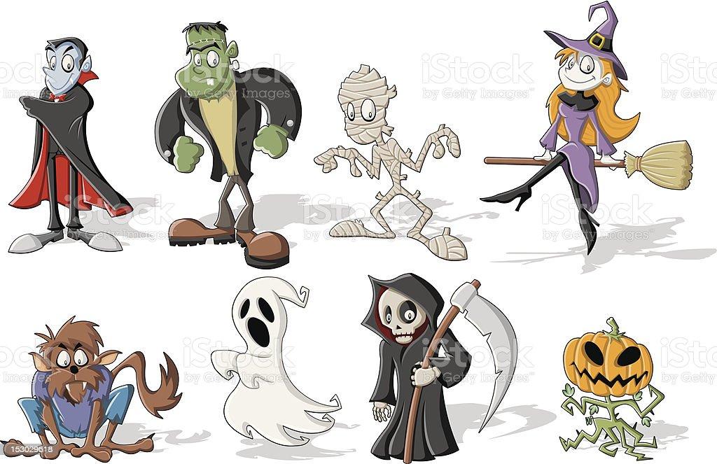 Halloween monster characters vector art illustration