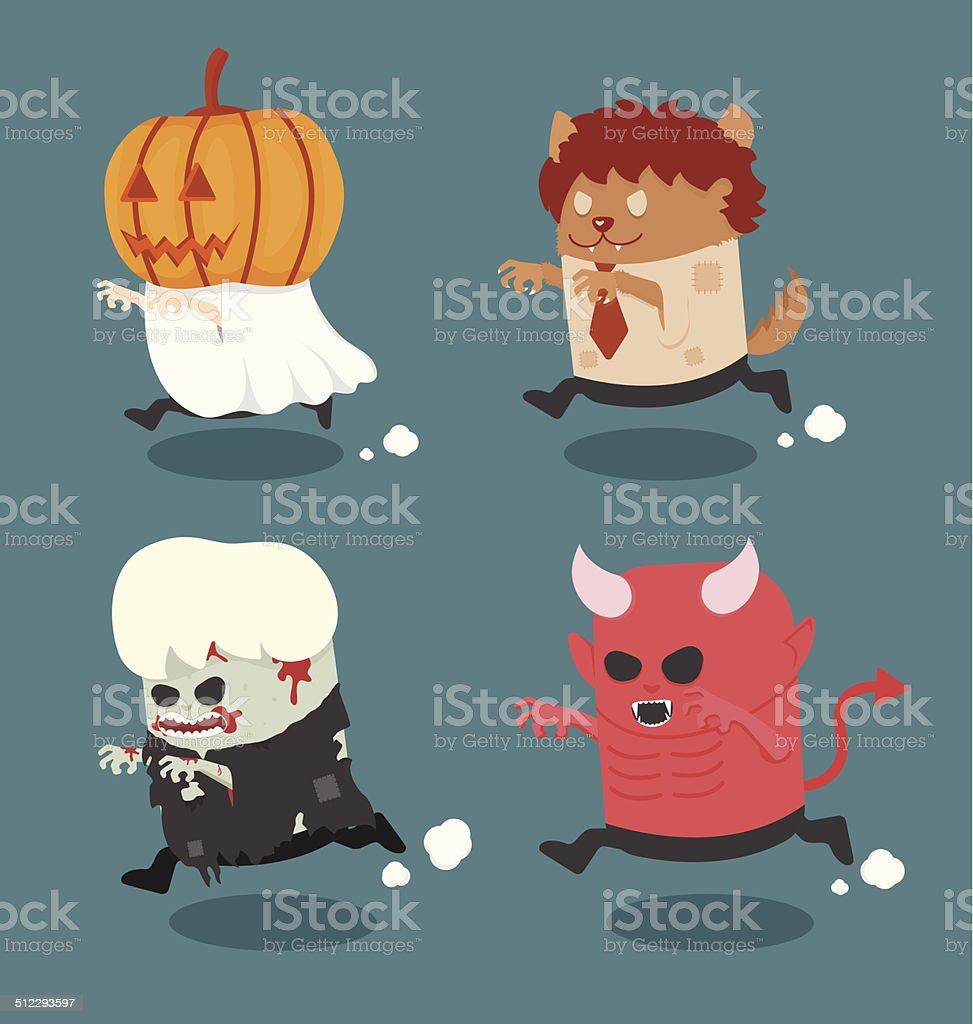Halloween monster costume set 2 vector art illustration