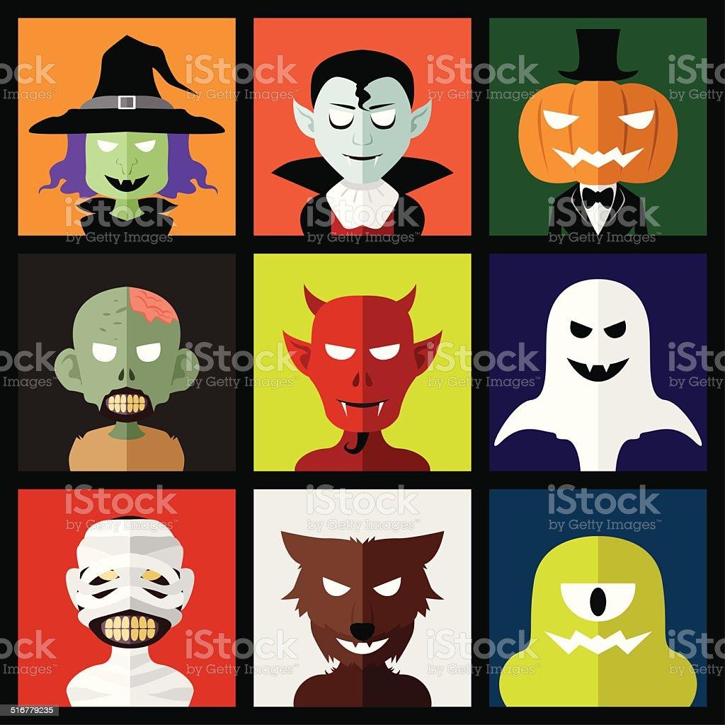 Halloween monster icons vector art illustration