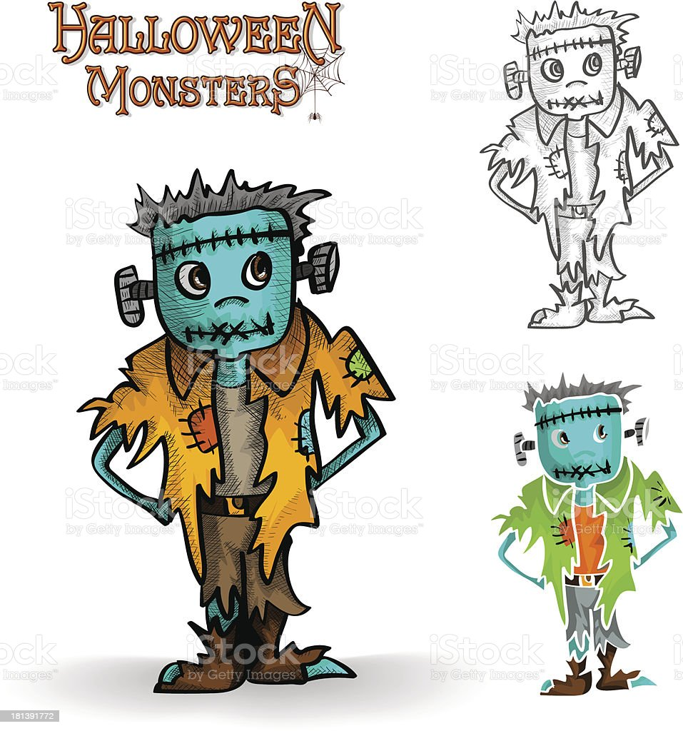 Halloween monster spooky zombie illustration EPS10 file royalty-free stock vector art