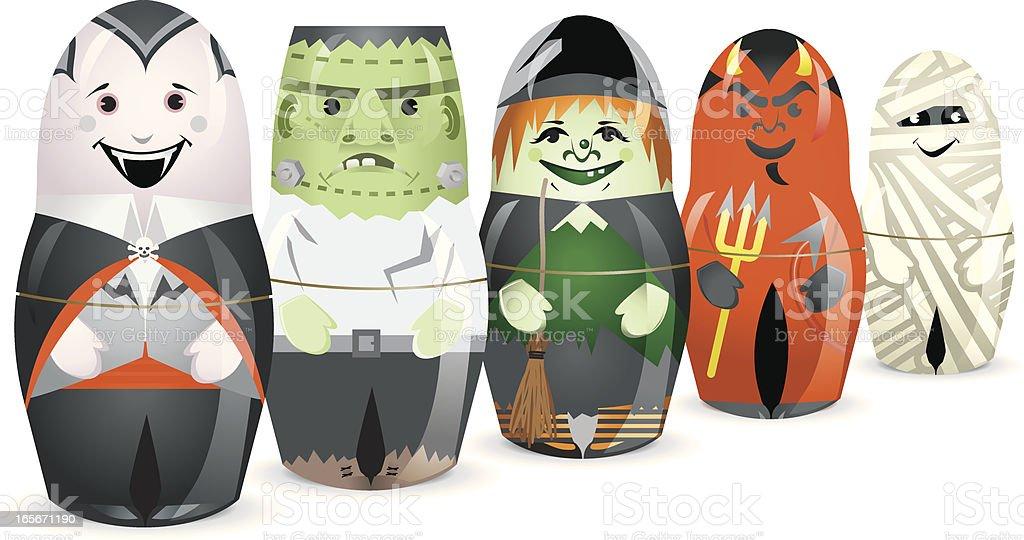 Halloween Monster stacking Dolls vector art illustration