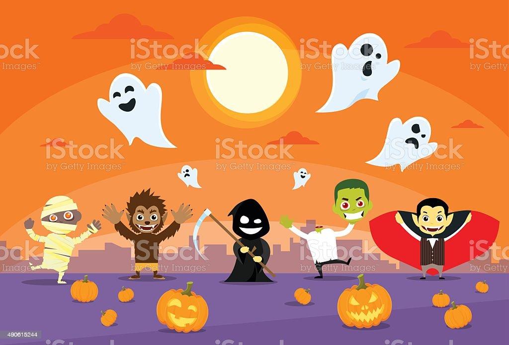 Halloween Monsters Banner Zobmbie Vampire Ghost Death Grim Reaper Werewolf vector art illustration