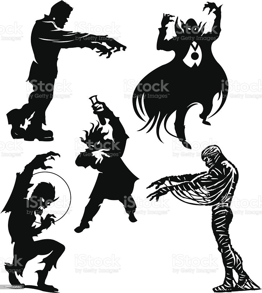 Halloween Monsters Frankenstein, Dracula, Werewolf, Mummy, Mad Scientist royalty-free stock vector art