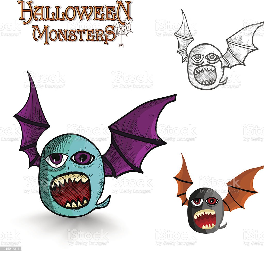 Halloween monsters freak bat EPS10 file royalty-free stock vector art