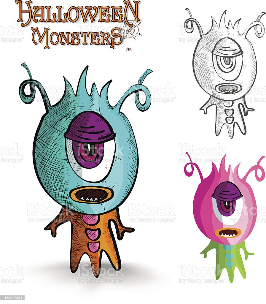 Halloween monsters one eye creature EPS10 file. royalty-free stock vector art