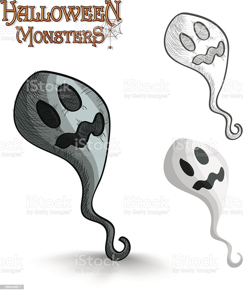 Halloween monsters scary cartoon ghost EPS10 file. royalty-free stock vector art