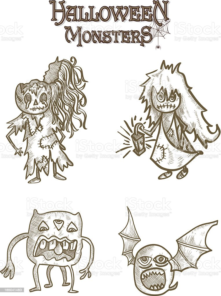 Halloween monsters scary sketch style cartoons set EPS10 file. royalty-free stock vector art