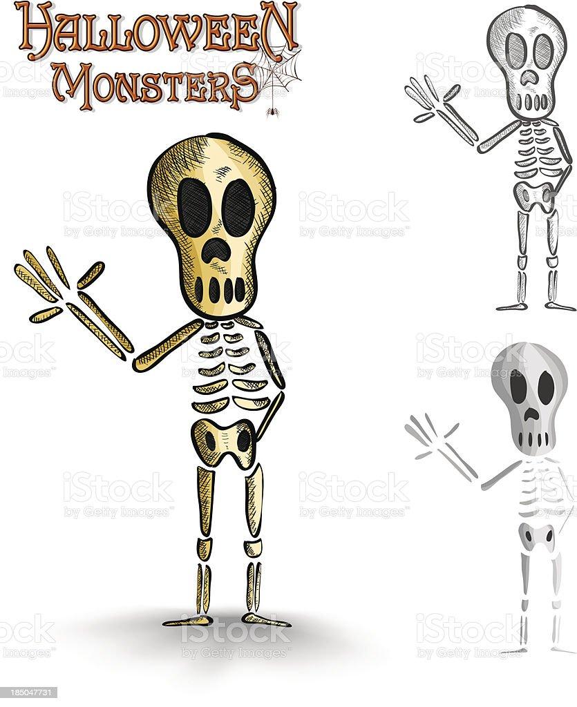 Halloween monsters spooky human skeleton EPS10 file. royalty-free stock vector art