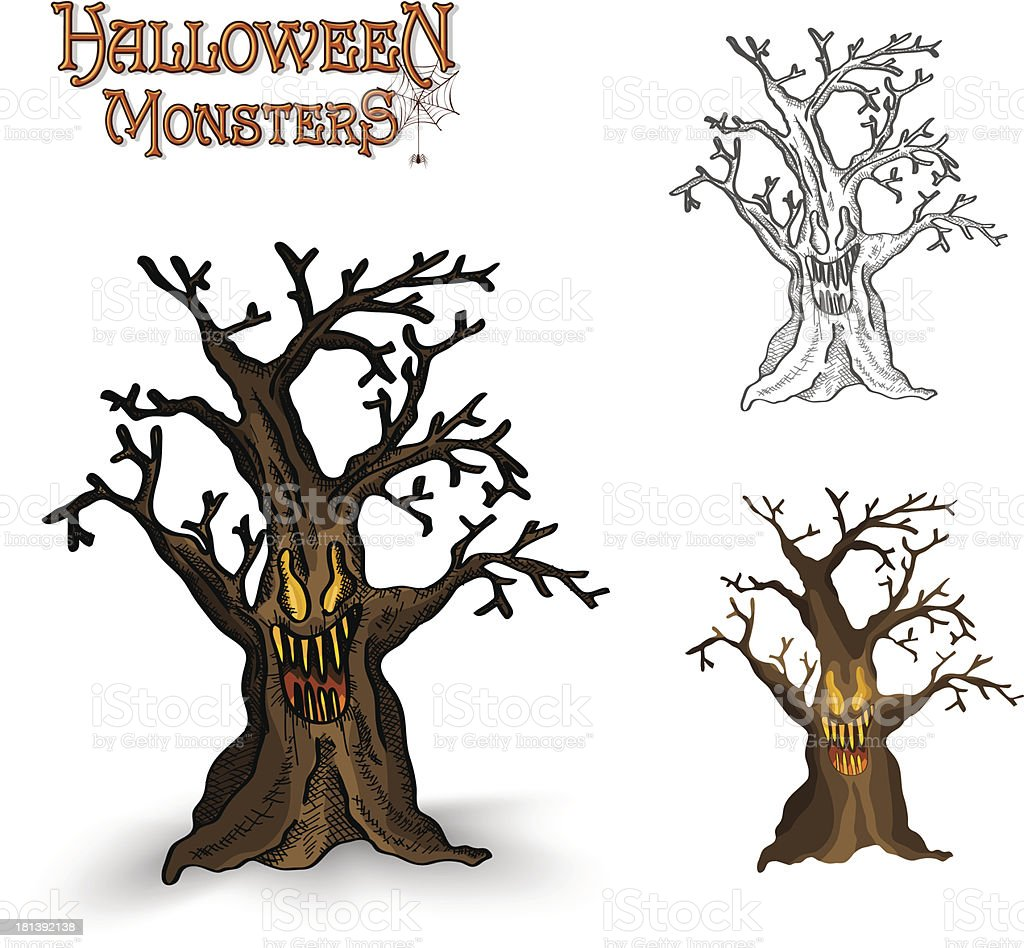 Halloween monsters spooky tree illustration EPS10 file royalty-free stock vector art
