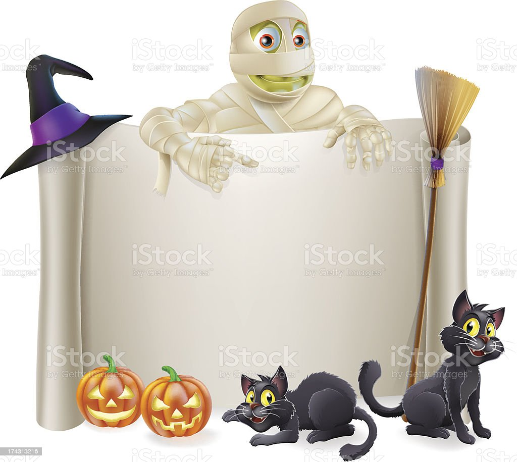 Halloween Mummy Scroll Sign royalty-free stock vector art
