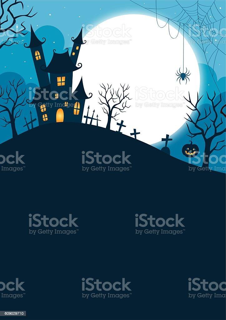 Halloween night background vector art illustration