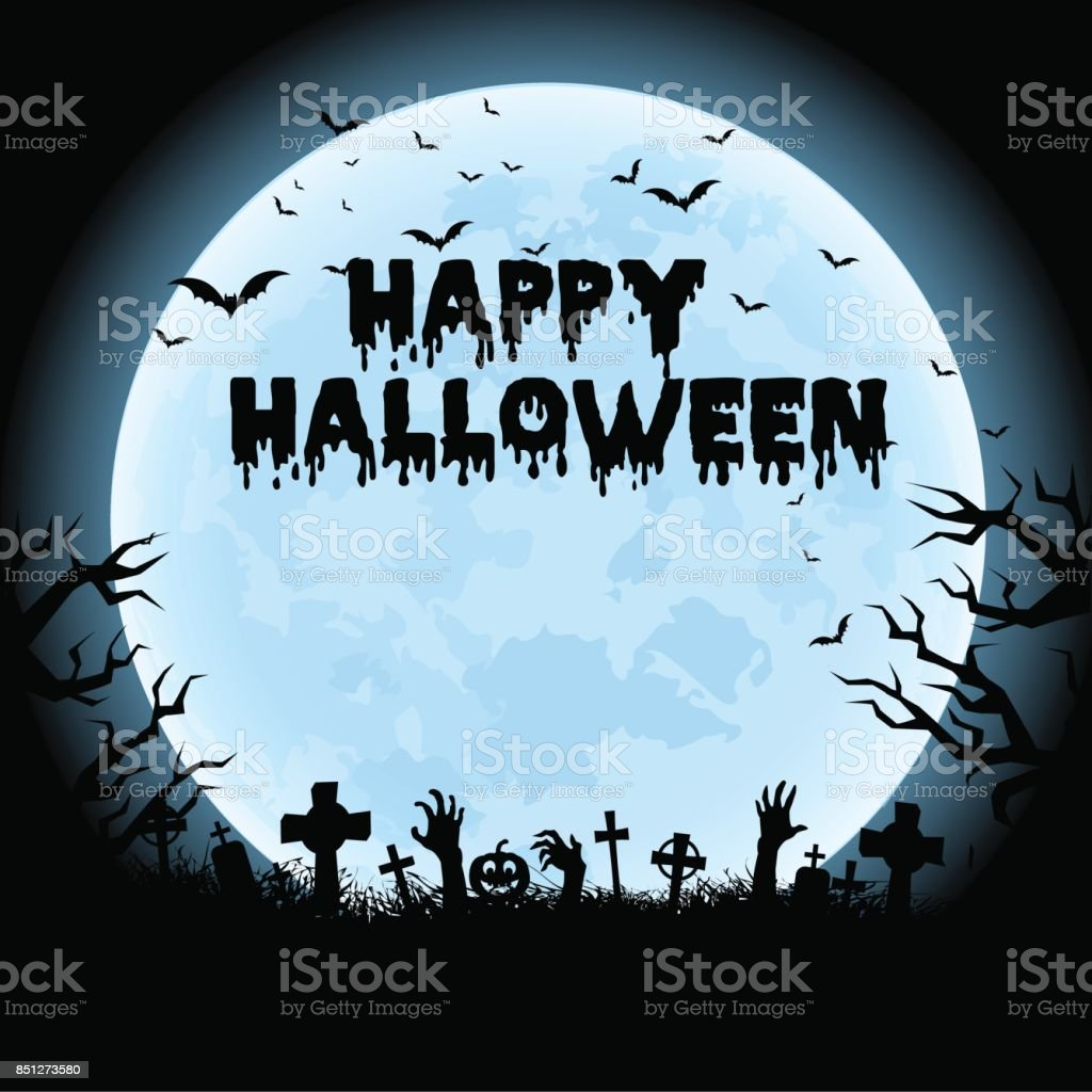 Halloween night background with haunted house, tree, pumpkin and bats. Vector. vector art illustration