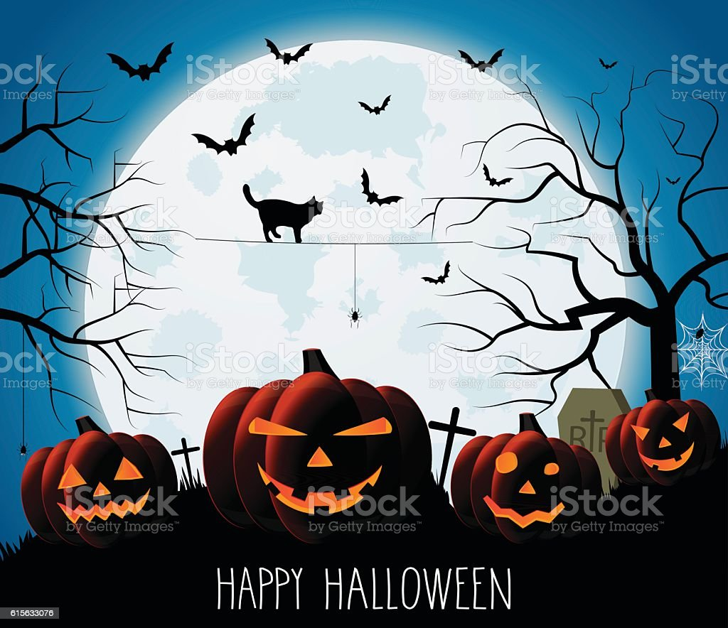 Halloween night blue background with pumpkins and moon vector art illustration