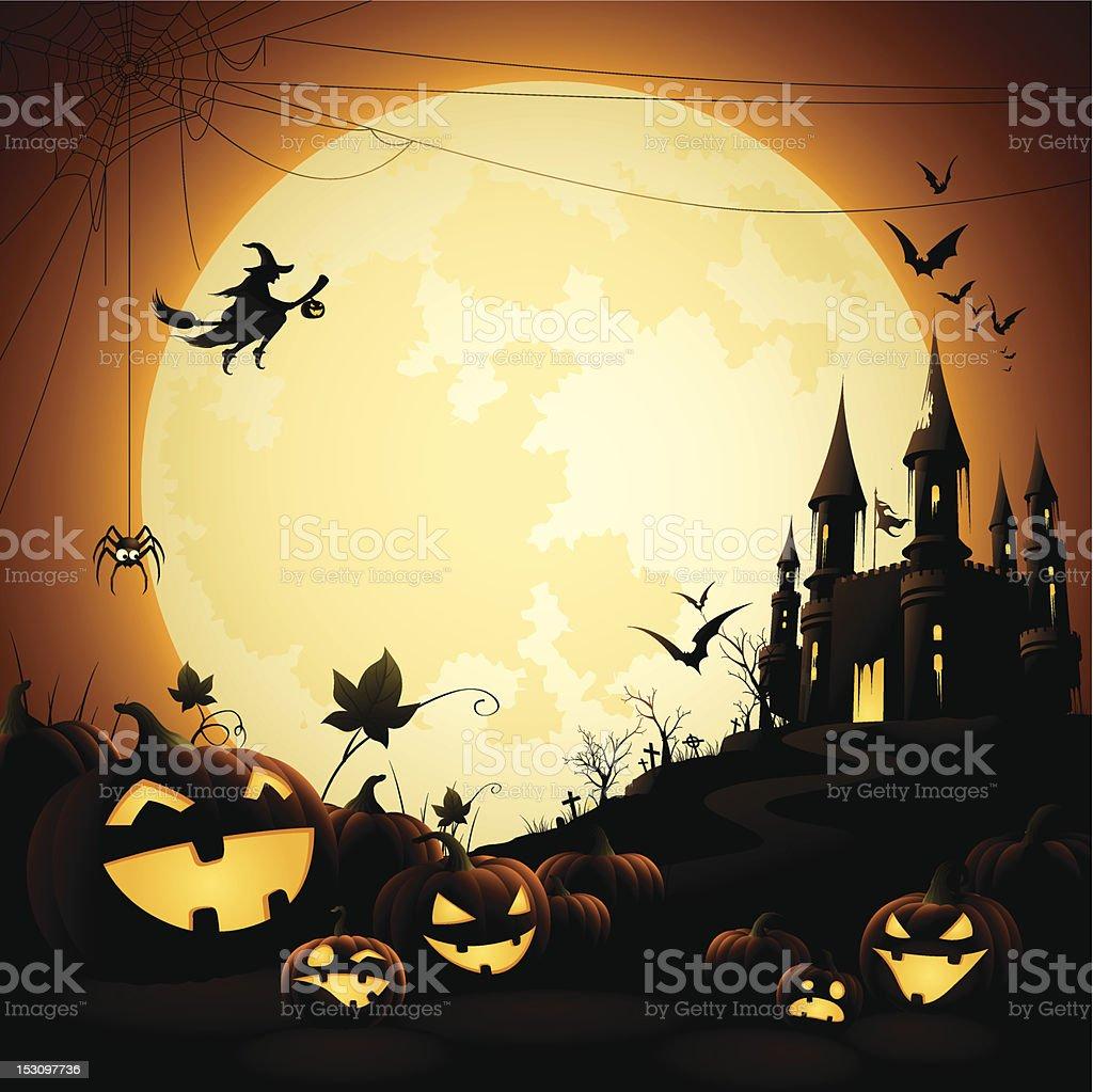Halloween Night - Haunted Castle vector art illustration