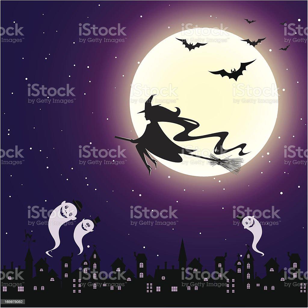Halloween night in the town vector art illustration