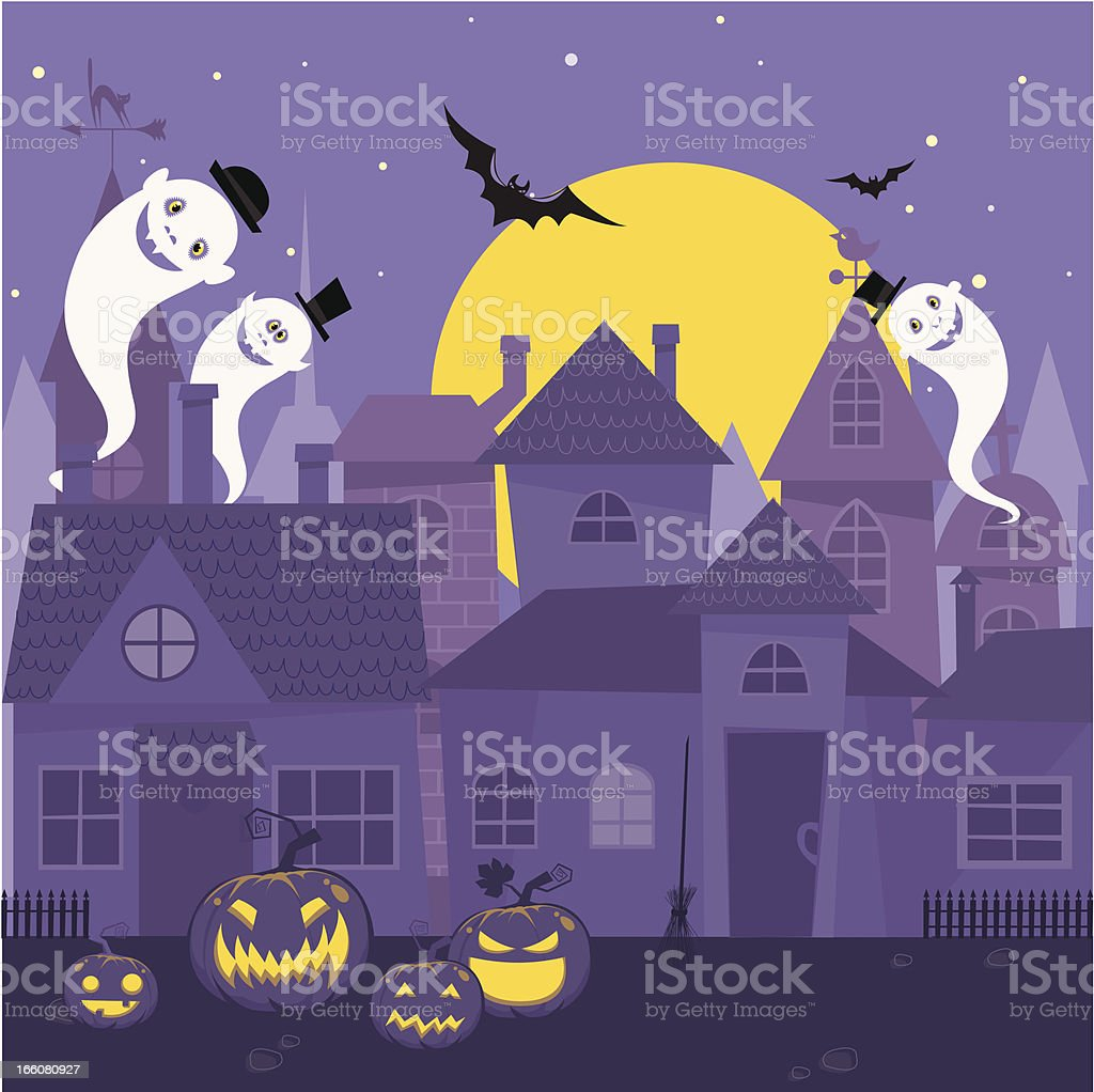Halloween night town royalty-free stock vector art