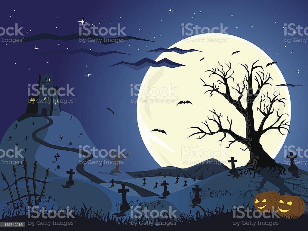 Halloween night vector art illustration