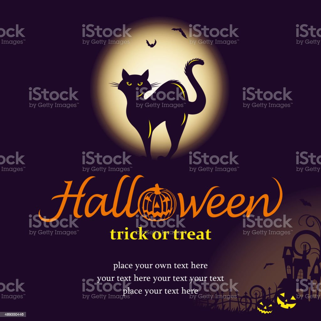Halloween night with black cat vector art illustration