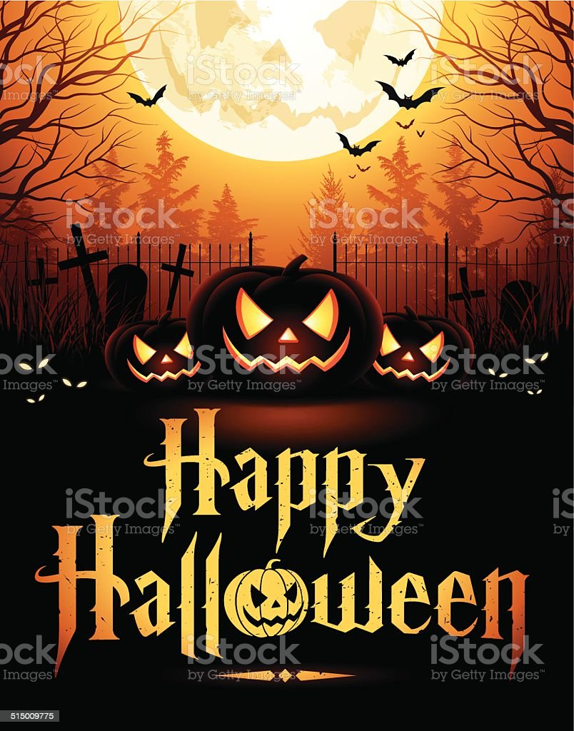 Halloween Night with Pumpkins vector art illustration