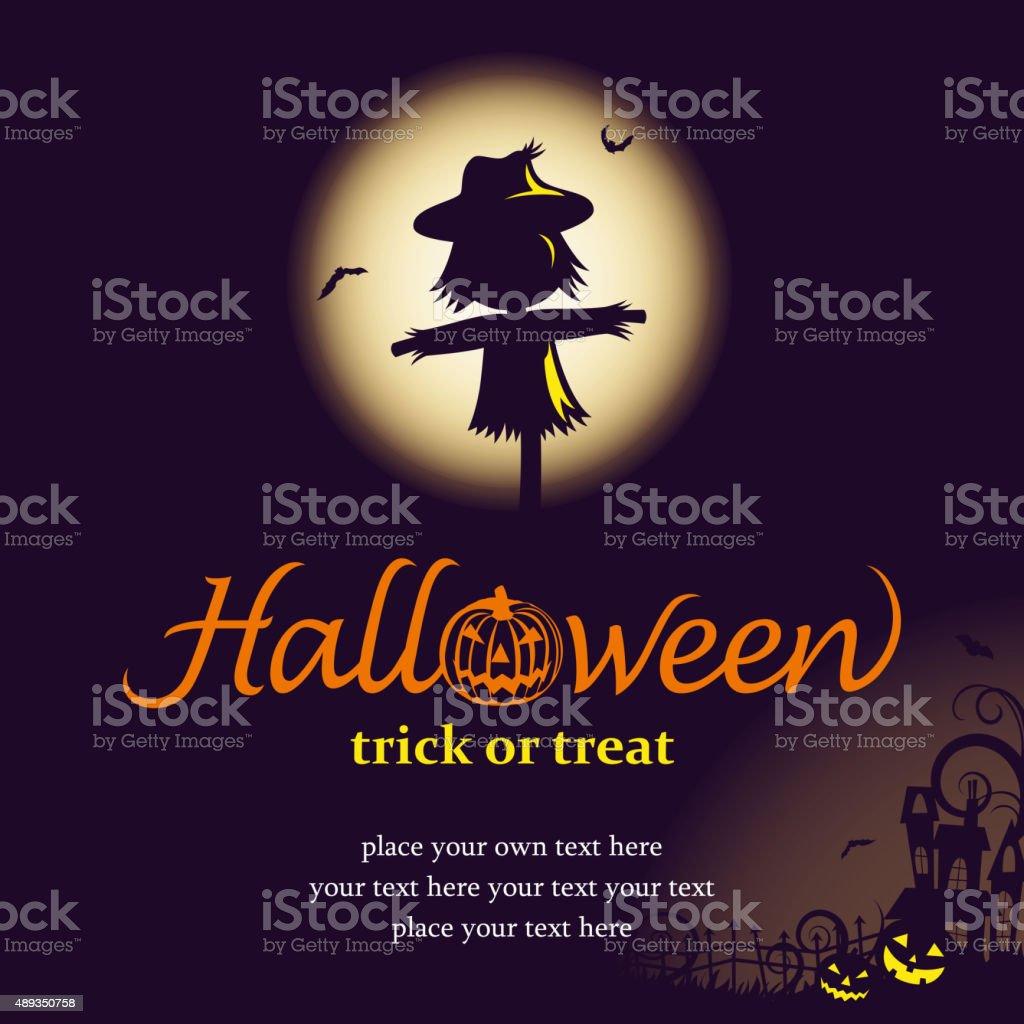 Halloween night with scarecrow vector art illustration