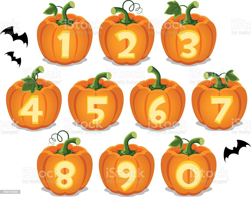 Halloween numbers vector art illustration