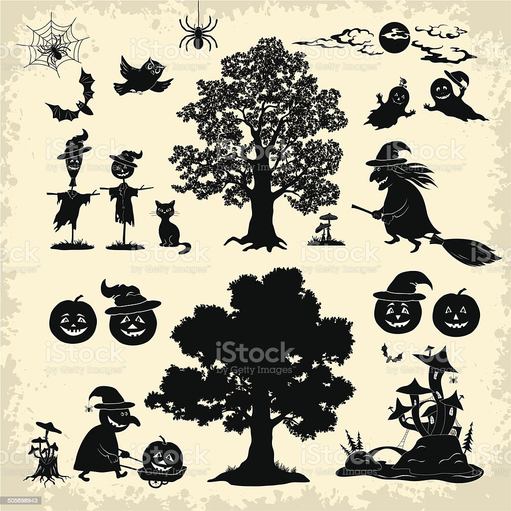Halloween objects and subjects set silhouette vector art illustration