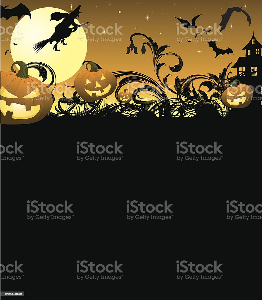 Halloween Page with haunted house vector art illustration