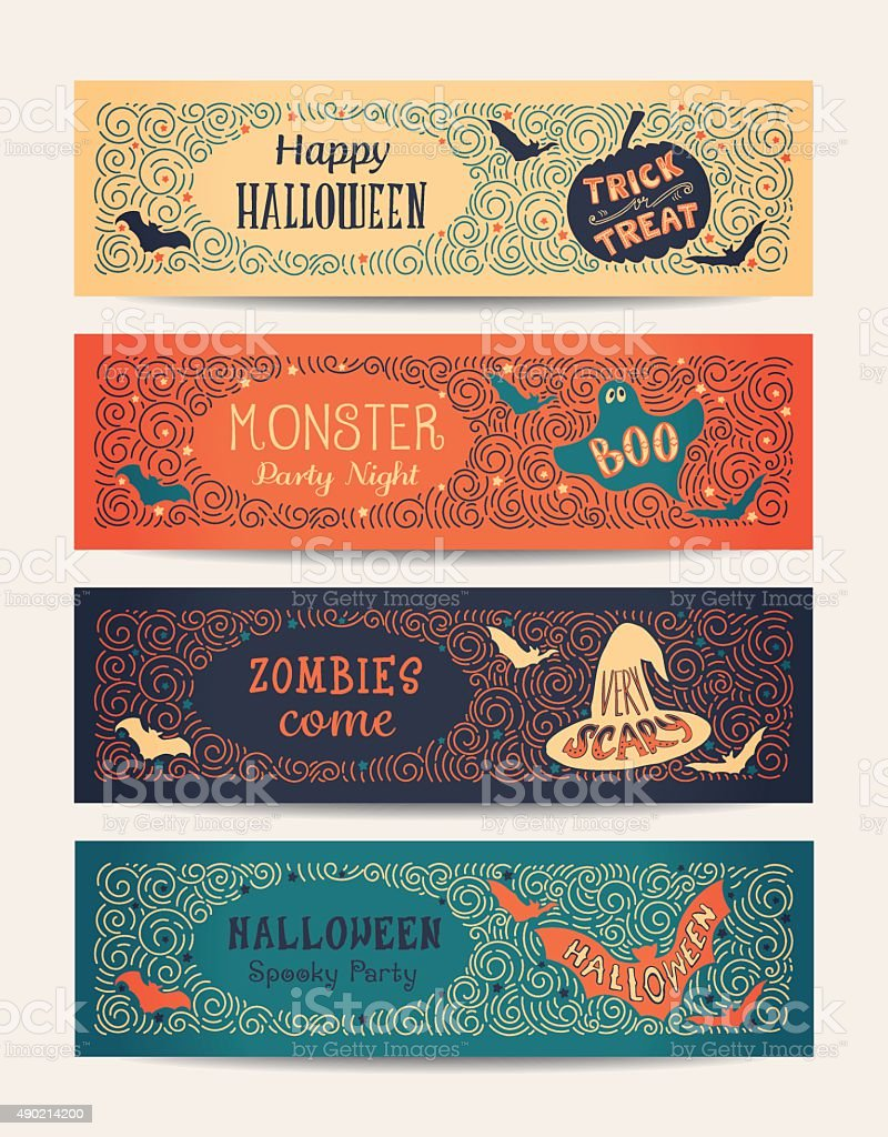 Halloween Party Cards vector art illustration