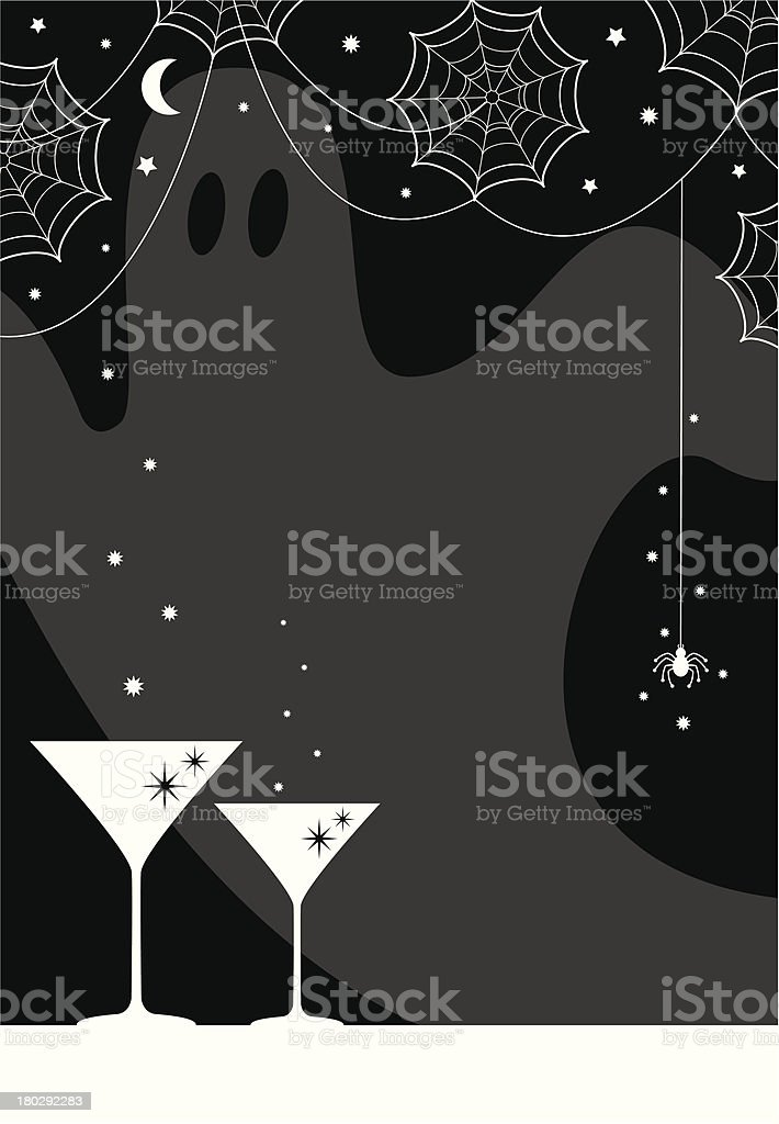 Halloween Party Cocktail Glasses & Spiders Web Design royalty-free stock vector art
