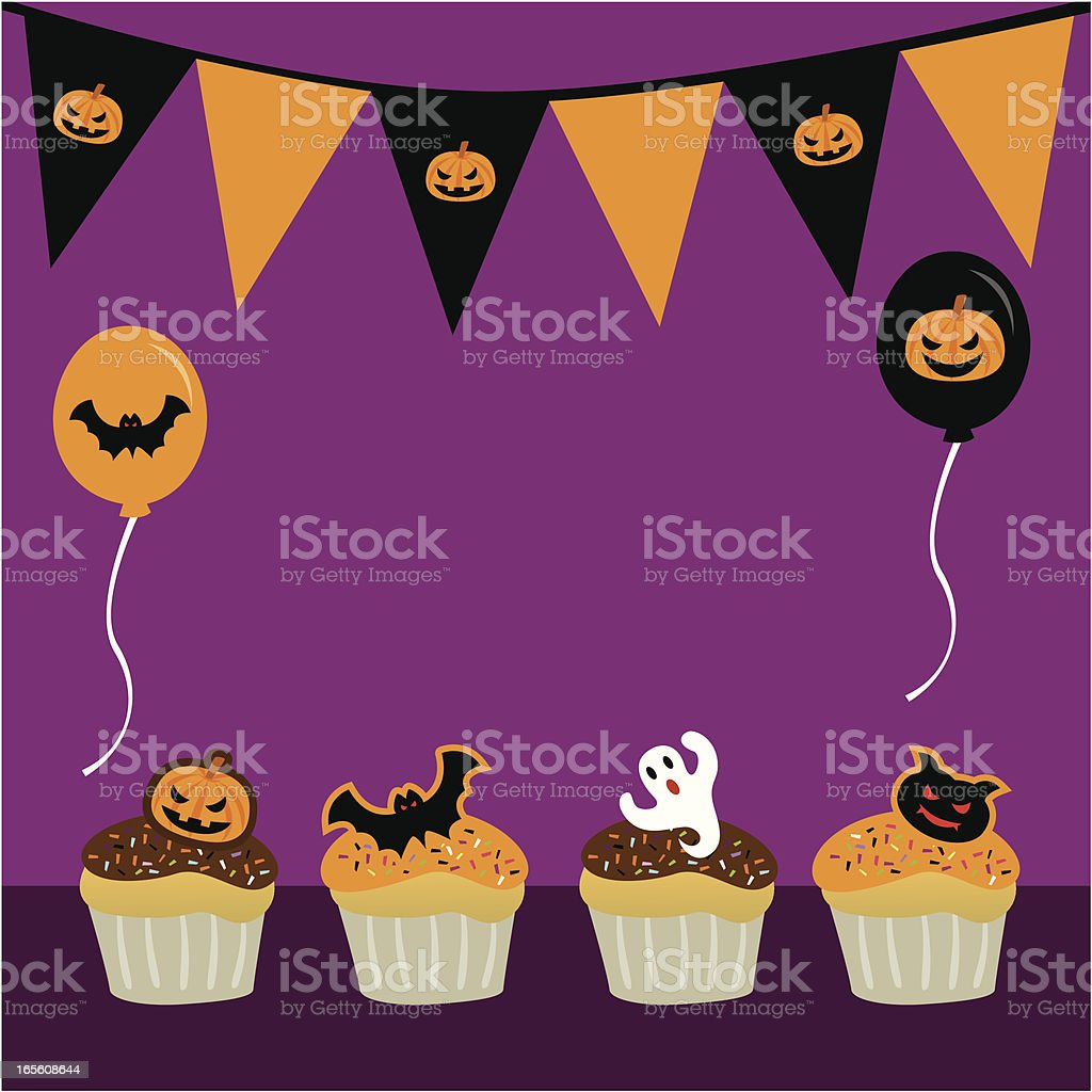 Halloween party cup cake royalty-free stock vector art
