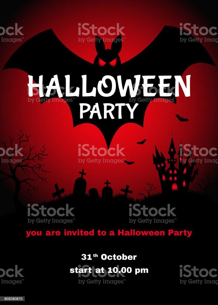 Halloween   party  design  template. vector art illustration