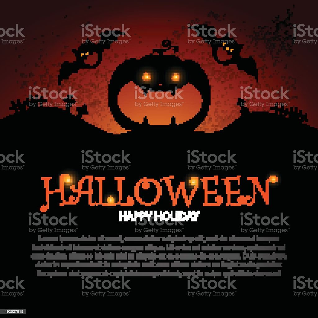 Halloween Party Design template, with pumpkin, bats and place for vector art illustration