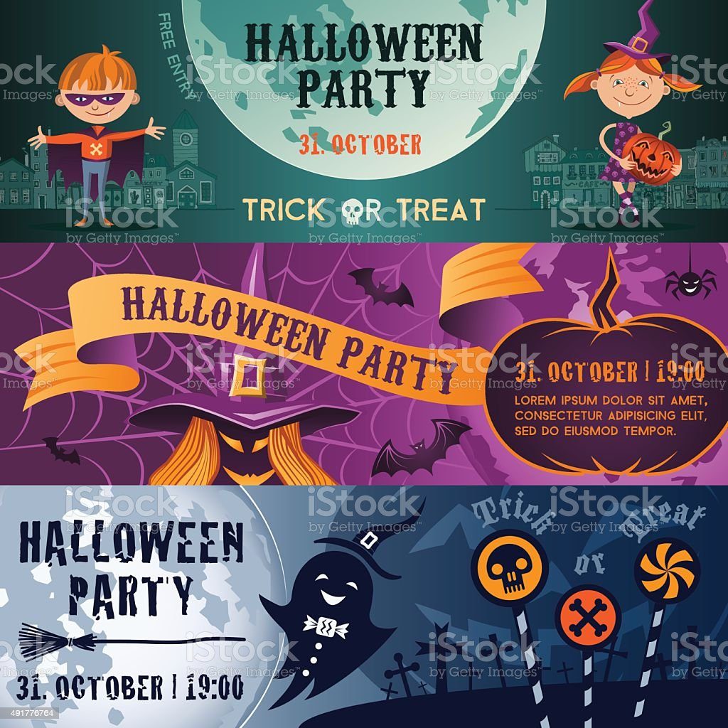 Halloween party flat banners set vector art illustration