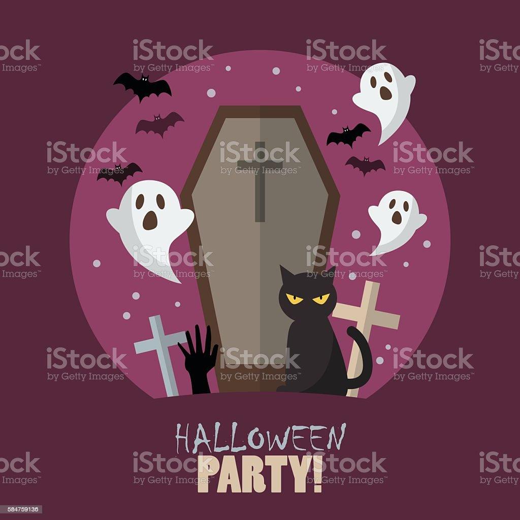 Halloween party flat poster vector art illustration