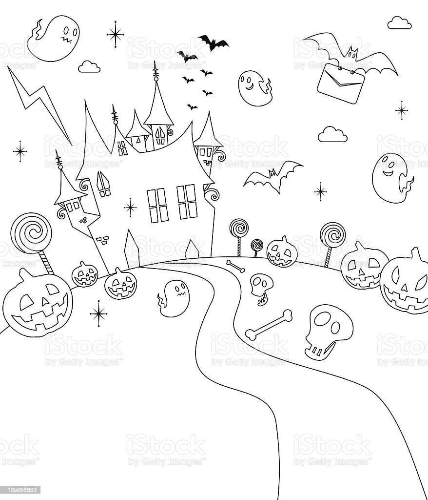 Halloween Party, Haunted House, Outline vector art illustration