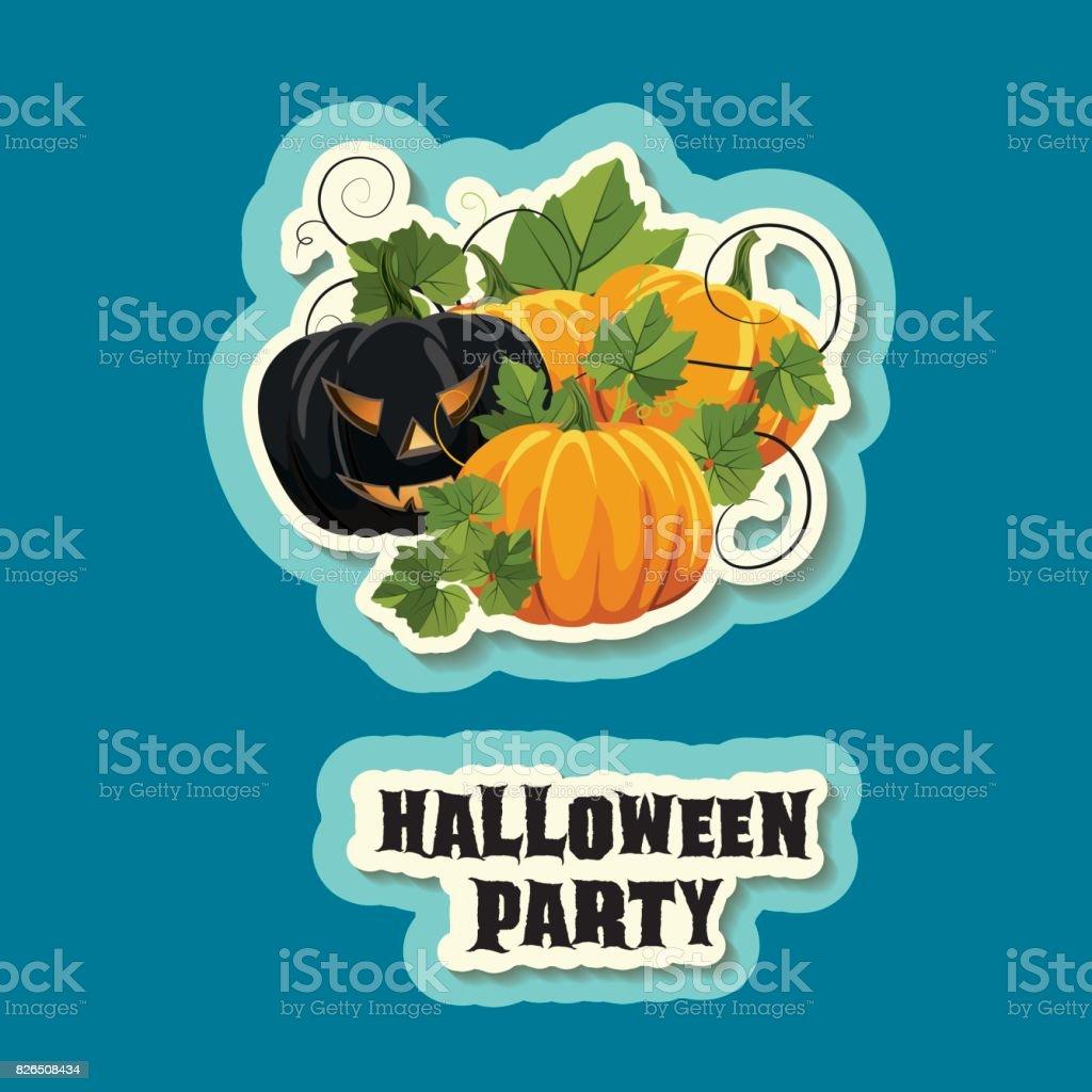 Halloween Party in Blue vector art illustration