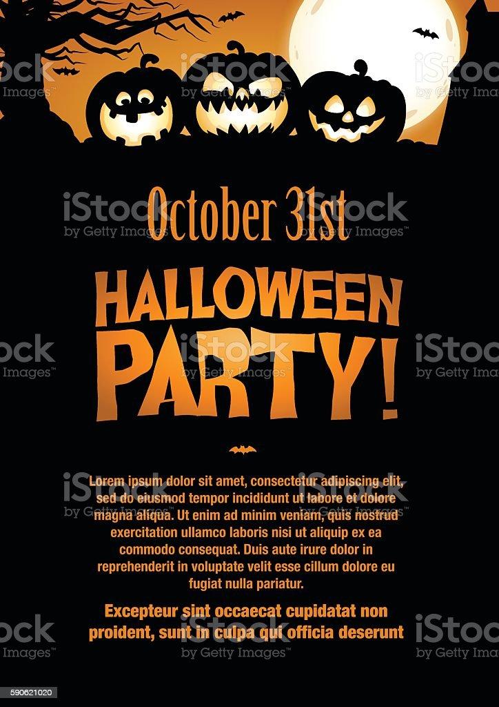 Halloween Party Invitation Flyer. Editable Vector vector art illustration
