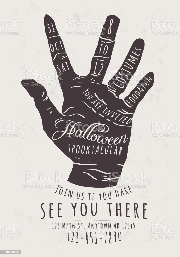 Halloween Party Invitation Flyer with Zombie Hand vector art illustration
